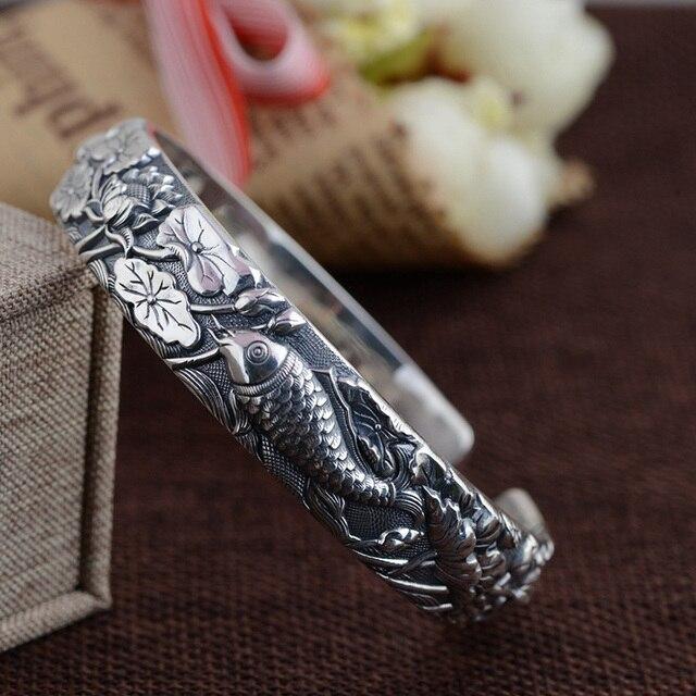 الصلبة نقية 990 الاسترليني أسورة فضية للنساء واسعة نوع الأسماك يلعب لوتس الكلاسيكية البوذية مجوهرات جونك arجيجا 925