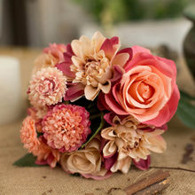 Artificial Rose Bouquet Silk Bloom Fake Peony Bride Holding Flowers Rose Wedding Center Decoration Decoration Home Office(China)