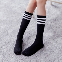 Kids Knee High Socks Children Sport Quality 3 LIne Striped Tight Black White Stockings
