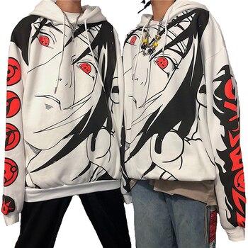 Autumn Anime Cartoon Print Hoodies Streetwear Couple Matching Casual Plus Velvet Hooded Sweatshirt Unisex Men Harajuku Pullover