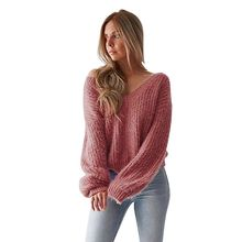 Autumn Winter Sweaters Women Warm Pullover Sexy Backless Lace Up Knitted Sweater Top V-Neck Long Sleeve Loose Sweater Jumper plus lace up jumper
