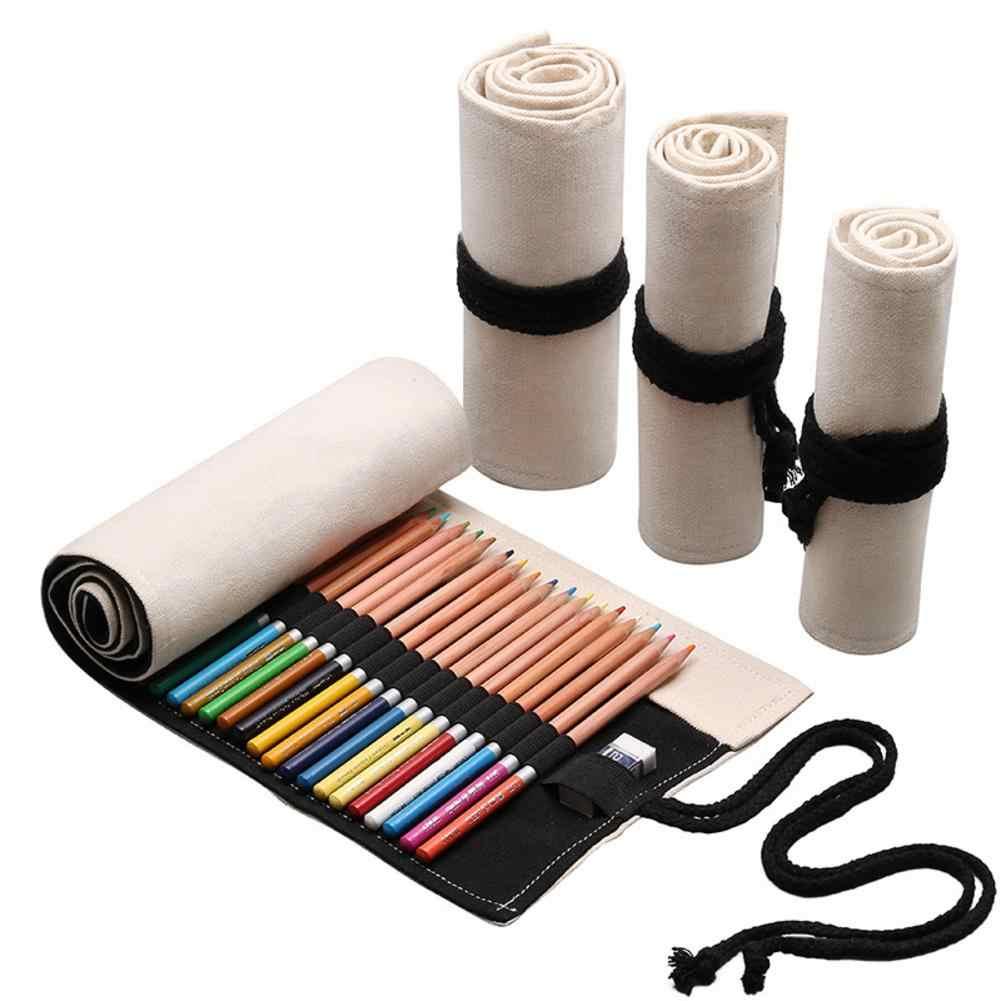 24/36/48 ดินสอ Canvas ดินสอห่อสำหรับดินสอสีดินสอม้วนสำหรับศิลปินสำหรับผู้ใหญ่แบบพกพา # GJ