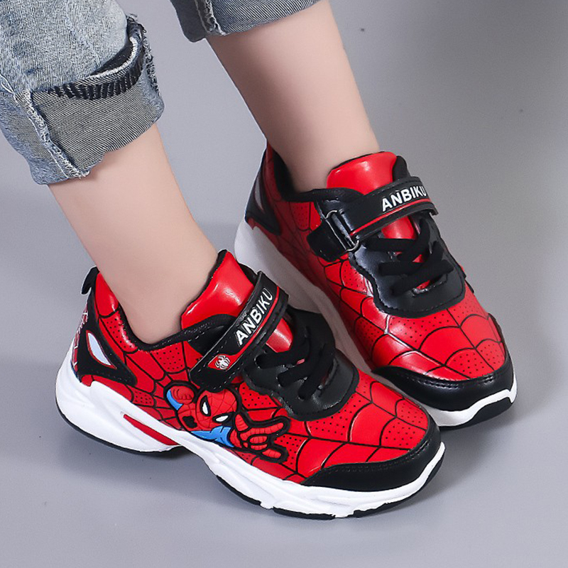 Fashion Boy Sports Shoes Spiderman Waterproof Leather Breathable Mesh Casual Kids Shoes Girls Sneakers Children Running Shoes