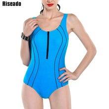 Riseado Sport bañador de una pieza para mujer, traje de baño con cremallera, traje de baño Bandage cruzado cortado, ropa de playa, traje de baño competitivo 2021
