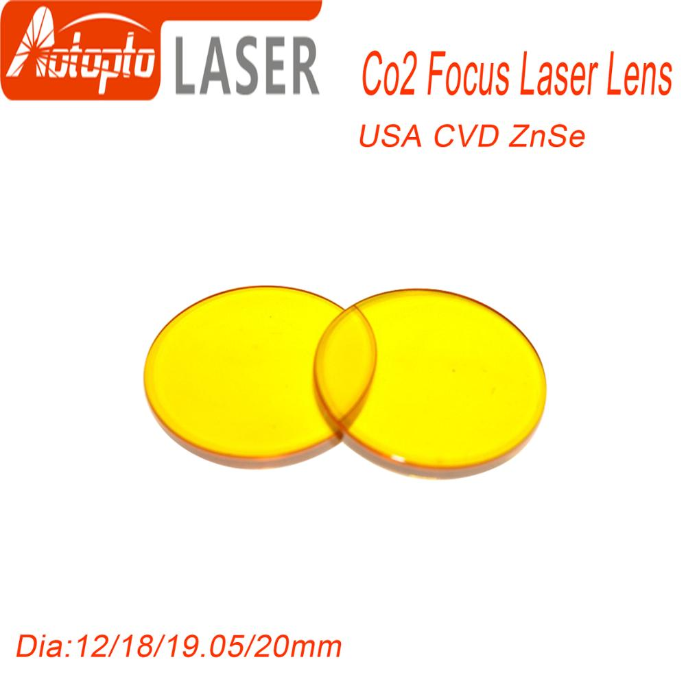Focus Lens USA CVD ZnSe DIA 12 15 18 19.05 20 FL 38.1 50.8 63.5 76.2 101.6 127mm For Co2 Lase Engraving Cutting Machine