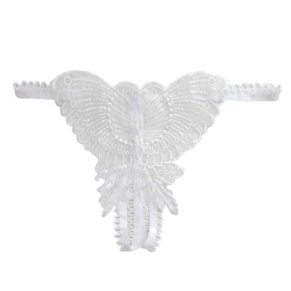Tangas mariposa encaje Micro mujeres apertura entrepierna bragas tangas G Strings ropa interior transparente señora lencería Sexy ropa interior