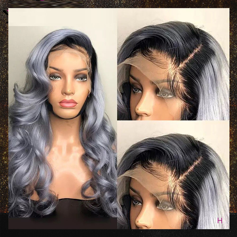 1B/Gray Color Wig 13X6 Loose Body Wave Lace Front Human Hair Wigs Pre Plucked 180 Density Brazilian Remy Hair For Black Women