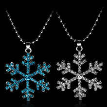 Princess Elsa Anna Snow Queen Flower Crystal Pendant Necklace For Women Girls Snowflake Rhinestone Aesthetic necklace chic rhinestone faux crystal oval necklace for women
