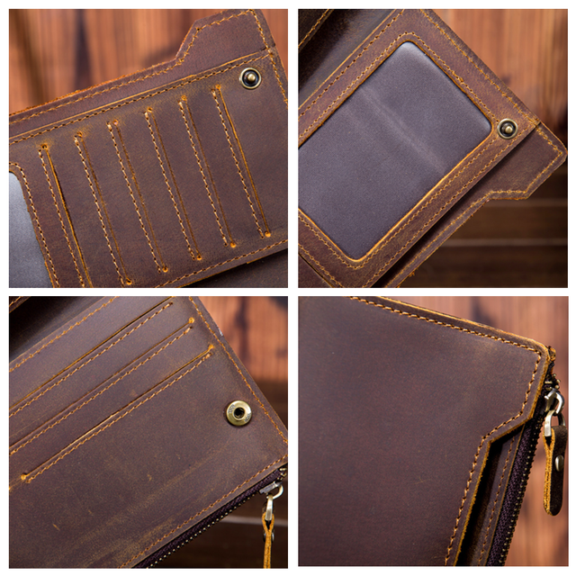 100% top cow genuine leather Crazy horse leather men wallet 2019 long style high quality male purse free shipping