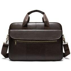 Westal Men's Briefcase Bag Men's Genuine Leather Laptop Bag Business Tote For Document Office Portable Laptop Shoulder Bag