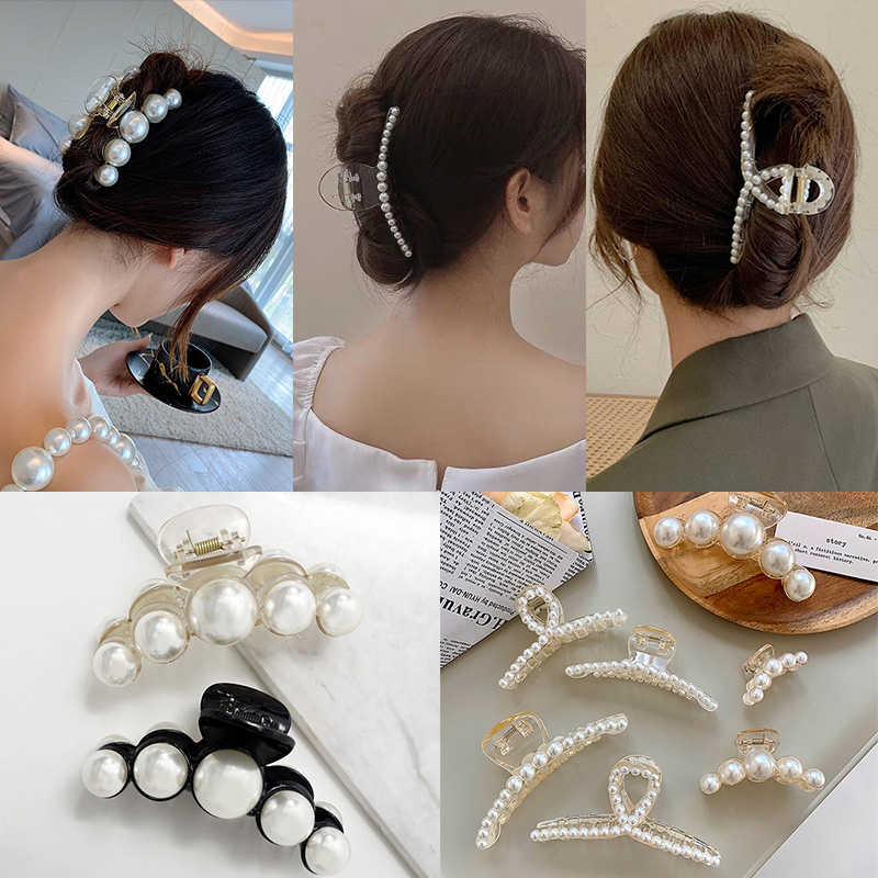 14 Styles Big Pearls Hair Clip Claws Oversize Small Makeup Thick Hair Accessories for Women Korean Black White Barrette 2020 New