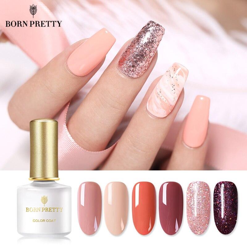 BORN PRETTY Living Coral Color Gel Polish 6ml Shimmer Glitter Rose Pink Soak Off Nail Art Gel Lacquer Primer Gel Varnish