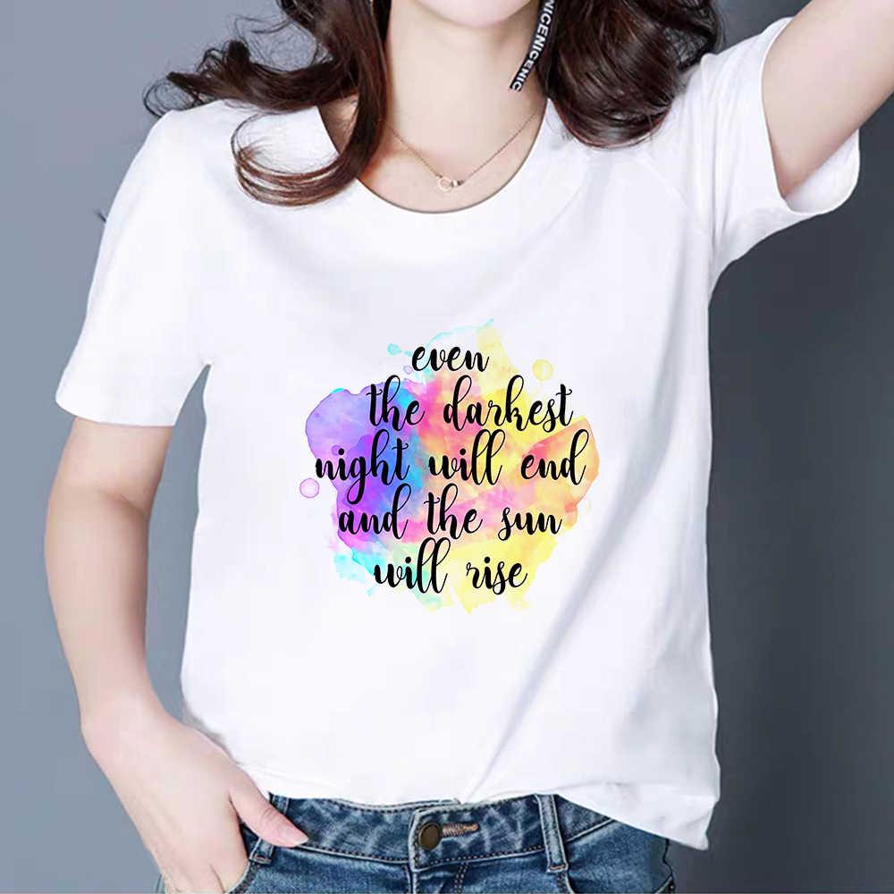 เสื้อใหม่ผู้หญิง VINTAGE Vogue ด้านบน Harajuku ตัวอักษรภาษาอังกฤษพิมพ์เสื้อยืดพลัสขนาด Vestidos Sun Will RISE TShirt