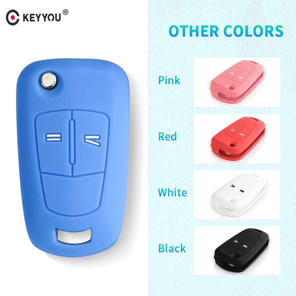 KEYYOU Silicone Remote Key Cover Fob Case For Opel Vauxhall Corsa Astra Vectra Signum Remote Flip Folding Car Key Shell 2 Button