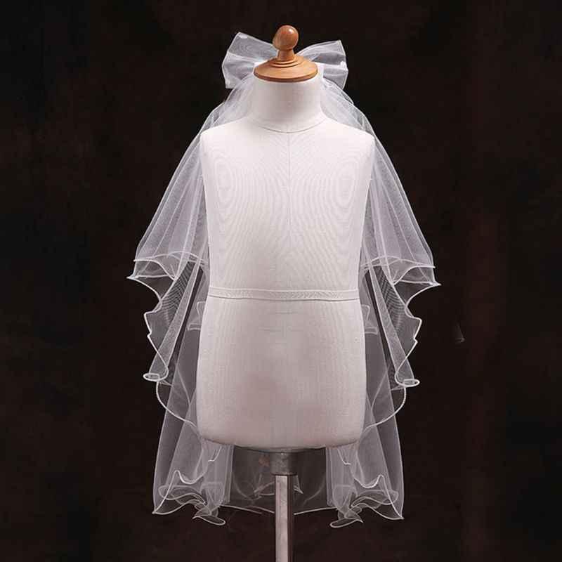 Handgemaakte Dubbele Laag Bloem Meisjes Bruiloft Sluiers Leuke Rhinestone Strik Kostuum E15E