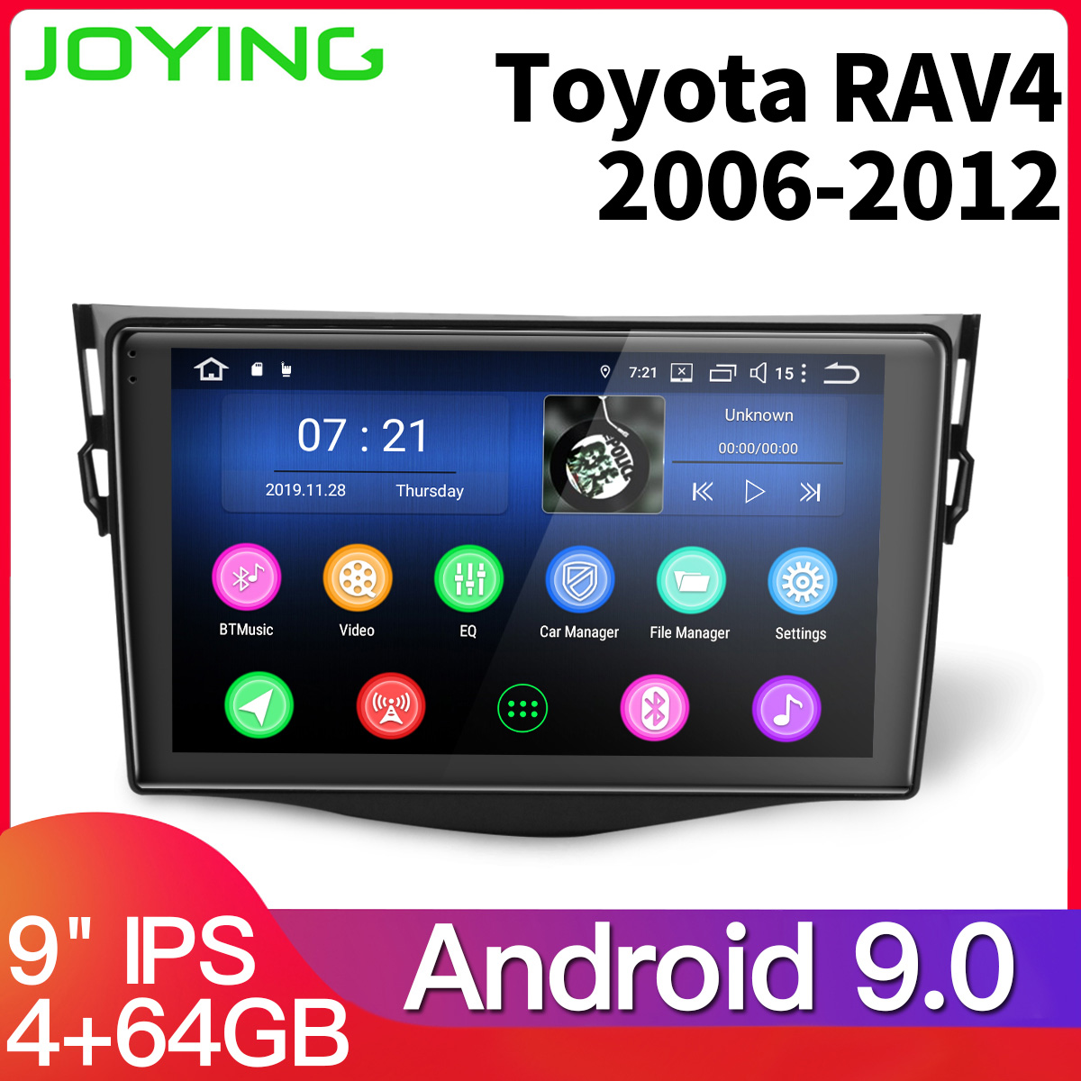 9'' IPS screen android 9.0 car head unit multimedia player for Toyota RAV4 <font><b>RAV</b></font> <font><b>4</b></font> 2007 2008 <font><b>2011</b></font> car stereo radio with <font><b>4</b></font>+64GB image