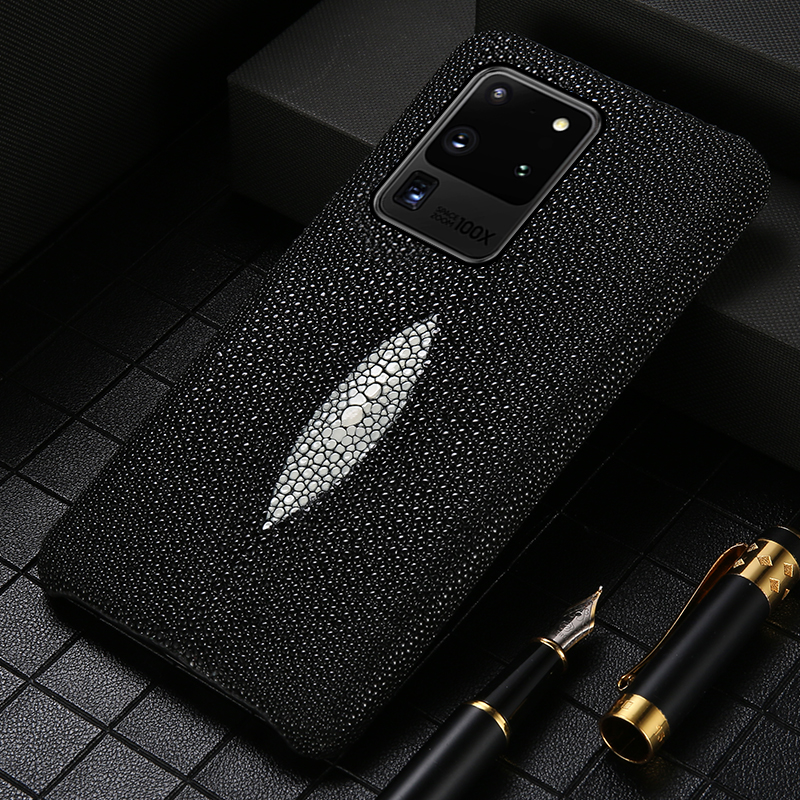 Luxury Genuine Pearl Gourami Leather Phone Case For Samsung Galaxy S20 Plus S20 Ultra Note 10 S9 S10 Plus A50 A51 A70 A71 Cover