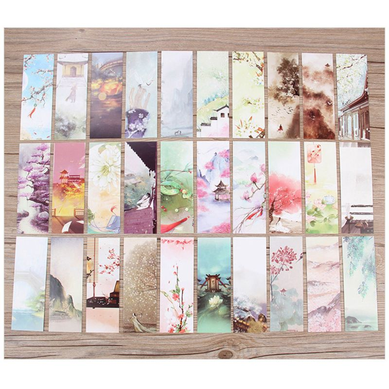 30pcs 16 Styles Creative Chinese Style Flowers Paper Bookmarks Painting Cards Retro Beautiful Boxed Bookmark Commemorative Gifts
