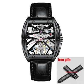 GuanQin2020 New Watch Men Top Luxury Brand Automatic Luminous Men Clock Skeleton Tourbillon Waterproof Mechanical RICHARD MILLE