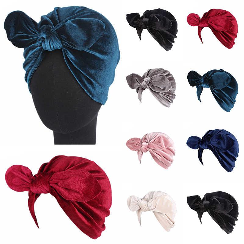 Novo feminino arco de veludo cabeça cachecol elástico turbante muçulmano chapéu bandana feminino hijab caps atados indiano boné cabeça envoltório para mulher