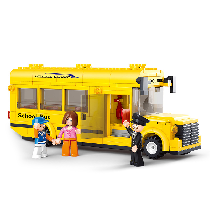 sluban 0507 219pcs 02078 60154 school bus City Town Bus Station Classic Marvel Building Blocks Newsstand Model Bricks Toys gifts image