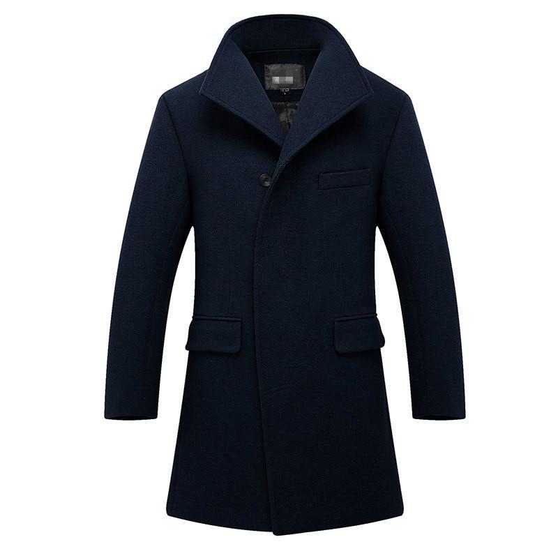 Mens Overcoat Long Thick Wool Coat Slim Fit Stand Collar Blue Woolen Coat Winter Casual Streetwear Men Blend Coat Plus Size 3xl