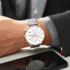 Image 5 - CURREN Mesh Strap Stainless Steel Quartz Watches Men Fashion Casual Male Clock Chronograph and Auto Date Wristwatch Reloj Hombre
