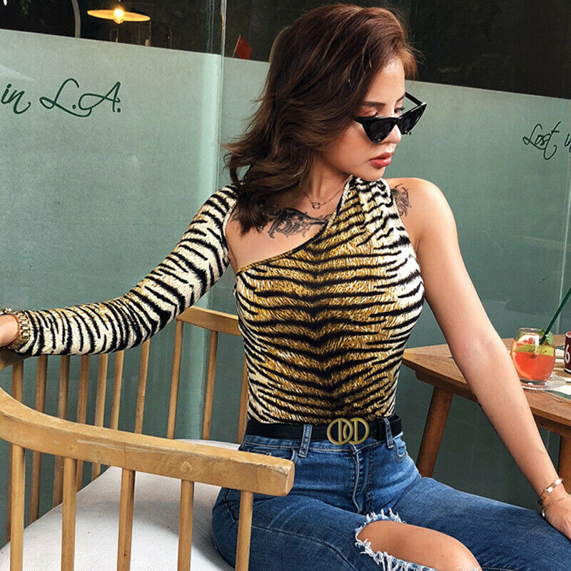 Womens Hollow Out One Shoulder Jumpsuit Bodycon Bodysuit Romper Long Sleeve Jumpsuit