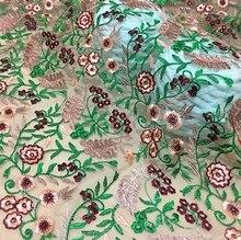 1meter high-end custom clothing fabrics Three-dimensional embroidery  encryption mesh lace fabric /skirt fabrics/ fashion cloth