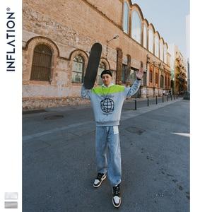 Image 3 - Inflação moletom homem contraste cor bloco tripulação pescoço moletom oversized ajuste algodão masculino sueter 9639 w