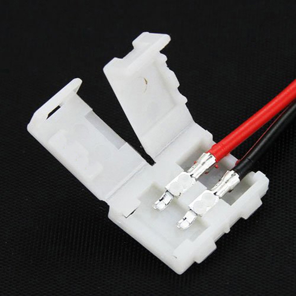 10pcs/lot 8mm 10mm Electrical Connect Splice 2-Pins Power  Clip Connector Adaptor for 3528/5050/5630 Led Strip Wire with PCB