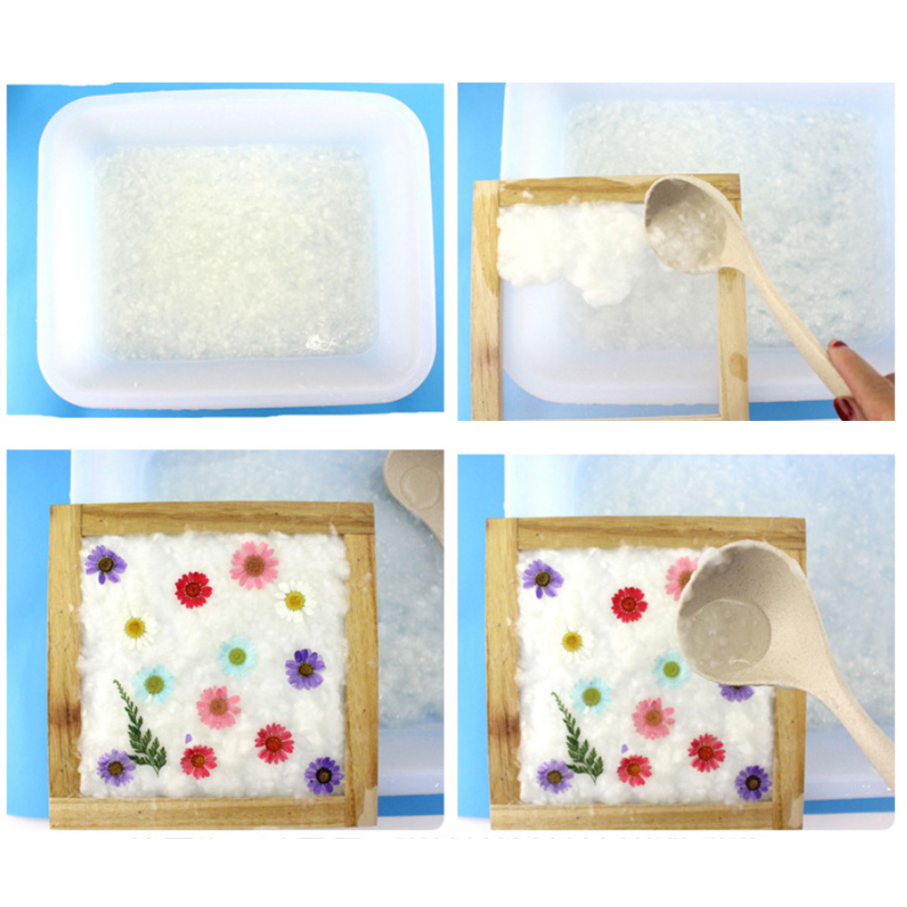 DIY Dried Fiber Mulberry Paper Pressed Natural Leaves Flowers Handmade Kit