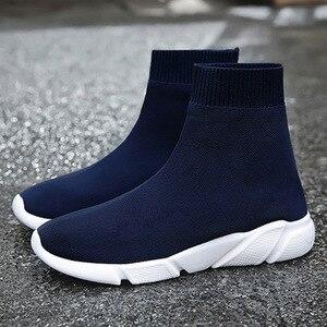 Image 4 - Chunky Sneakers wulkanizowane kobiety płaskie Stretch Knittin futro skarpety buty Plus Size mężczyźni panie krótkie buty platformy kobiece buty