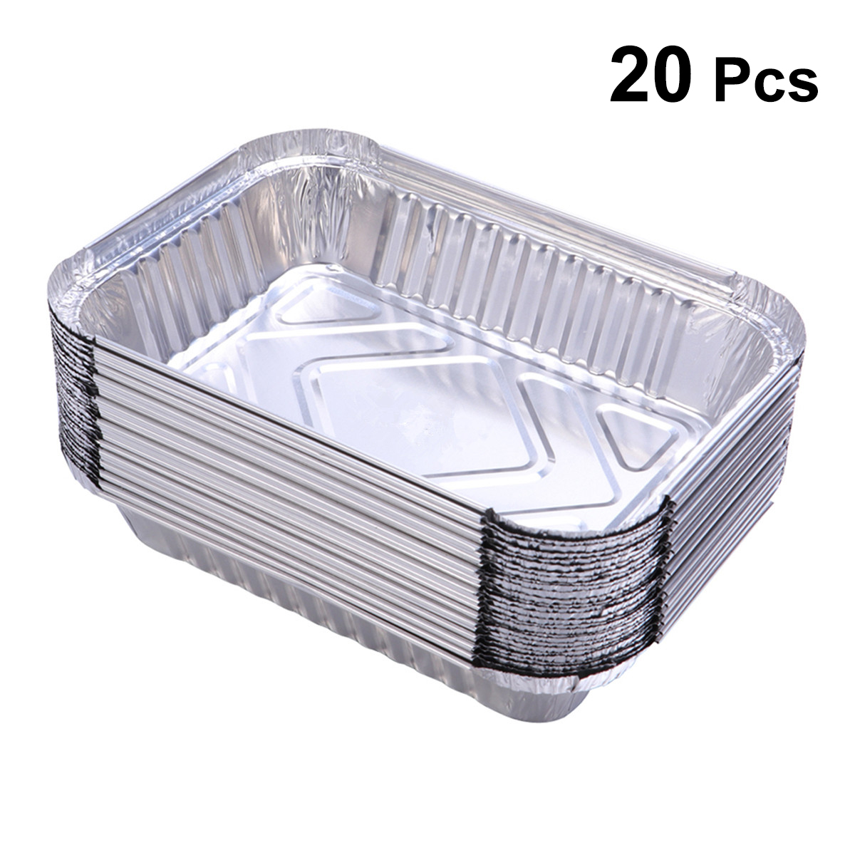 20 Pcs Tin Foil Box Durable Disposable Tray Silver Container Food Holder Without Cover For Barbecue