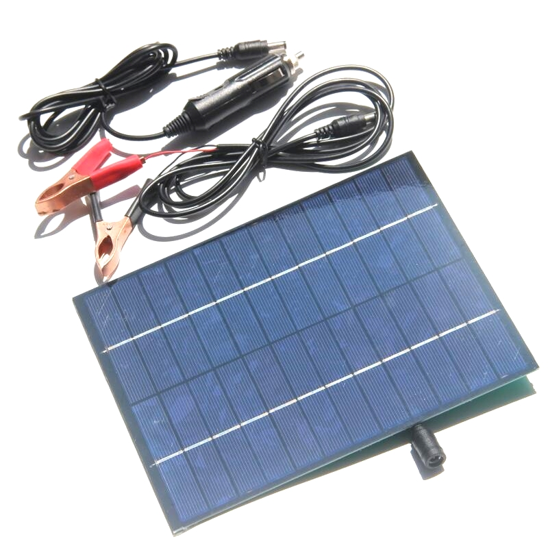 BUHESHUI 12V 5V Portable Solar Panel Charger With USB DC 5521 Cable For 12V Car Boat Motor Battery Charger 6.5W Solar Panel(China)