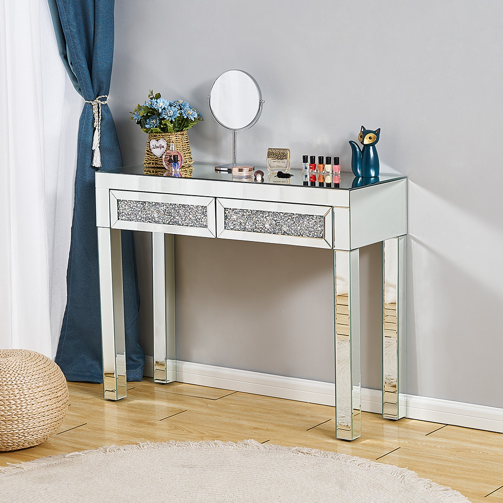 Presell Dressing Makeup Table Stool Mirrored Entryway Console Glass Desk Dresser 2 Drawers Bedroom Display Table Toucadores