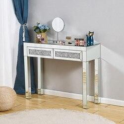 Presell tocador de maquillaje taburete de mesa con espejo en la consola de la entrada tocador de escritorio de cristal 2 cajones dormitorio mostrador tocadores