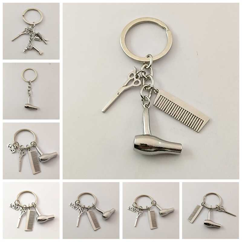 1 adet Dekoratif Anahtarlıklar Kuaför Hediye Tarak Makas Saç Kurutma Makinesi araba-styling Iç Aksesuarları Araba anahtarlıklar Anahtarlık