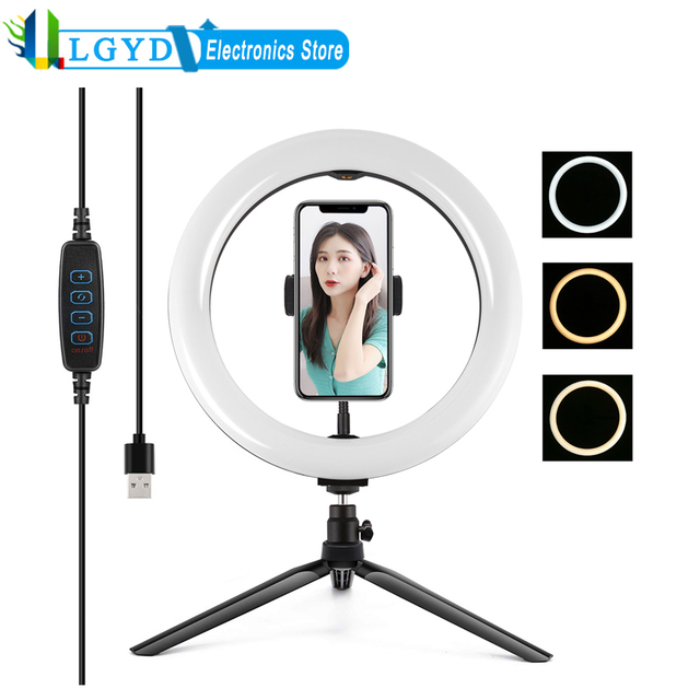 PULUZ Desktop Tripod Mount+10.2 inch 26cm USB LED Curved Diffuse Ring Light Vlogging Selfie Photography Video Lights Phone Clamp