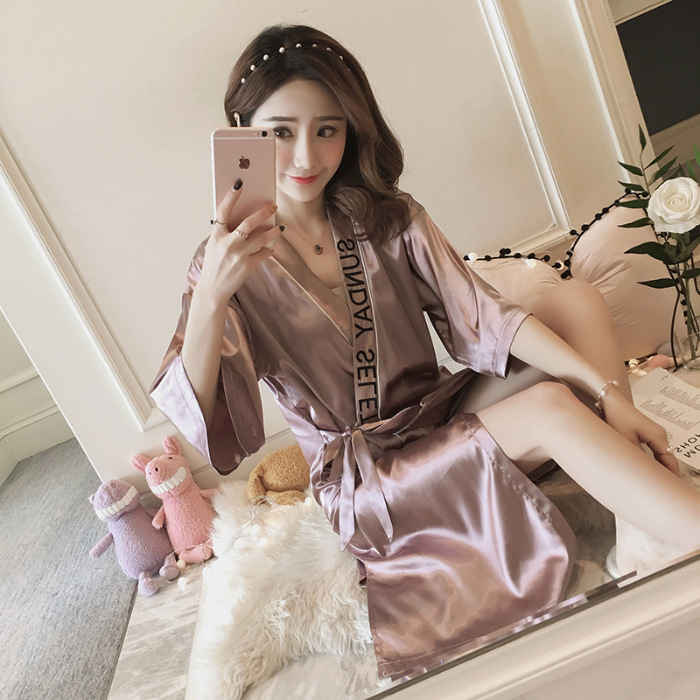 Lavender Model Silk Nightgown Women's Summer Half Sleeve Loose-Fit Sexy Embroidery Bandage Cloth Pajamas Bathrobe Morning Gowns