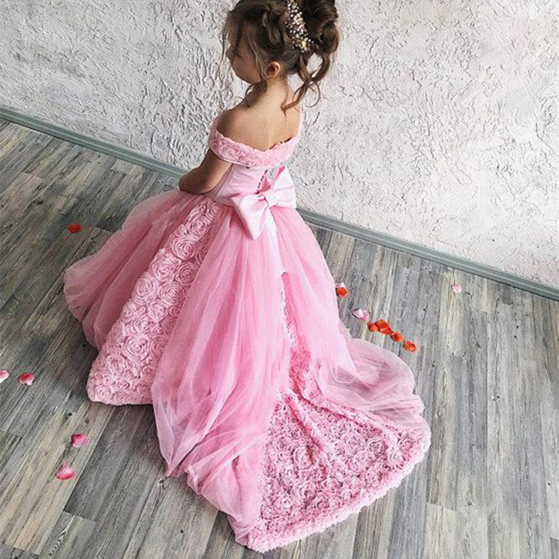 Blush Pink Flower Girl Dress For Wedding Cute 3D Flowers Princess Party Luxury Ball Gown Girl Formal  Pageant Dresses