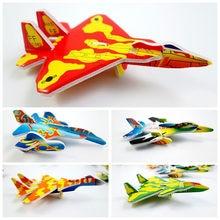 Crianças criativas brinquedo magia rotunda combate aeronaves espuma de papel avião modelo mão jogar voando planador aviões brinquedos para crianças