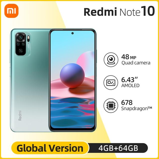 Global Version Xiaomi Redmi Note 10 4GB 64GB/4GB 128GB telephone Snapdragon 678 48MP Quad Camera AMOLED Display 33W 1