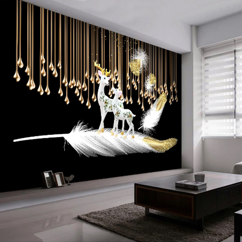 Youe Shone Home Decor Wallpaper Retro Abstract Golden Lines Feather Elk Relief  3D Stereo Living Room Sofa TV Background Murals