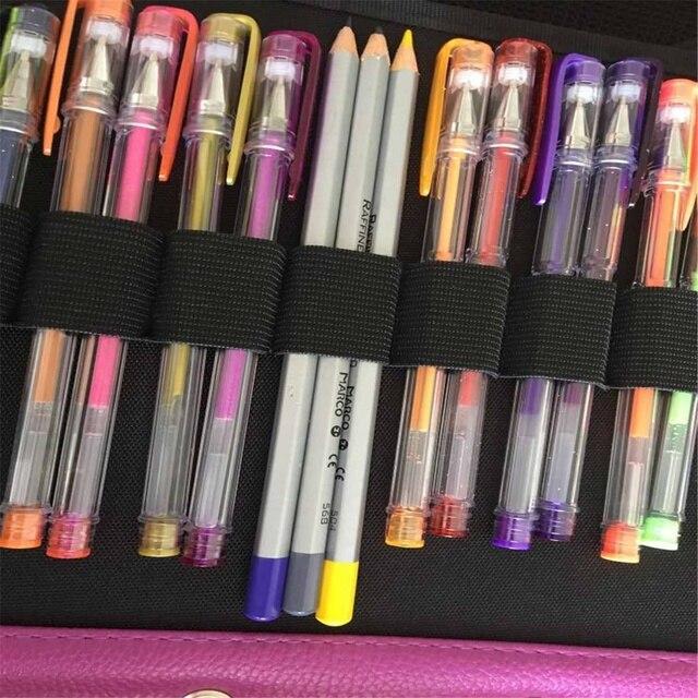 140 fente Portable coloré porte-crayon étanche grande capacité en cuir PU sac à crayons boîte pour étudiant cadeaux Art fournitures