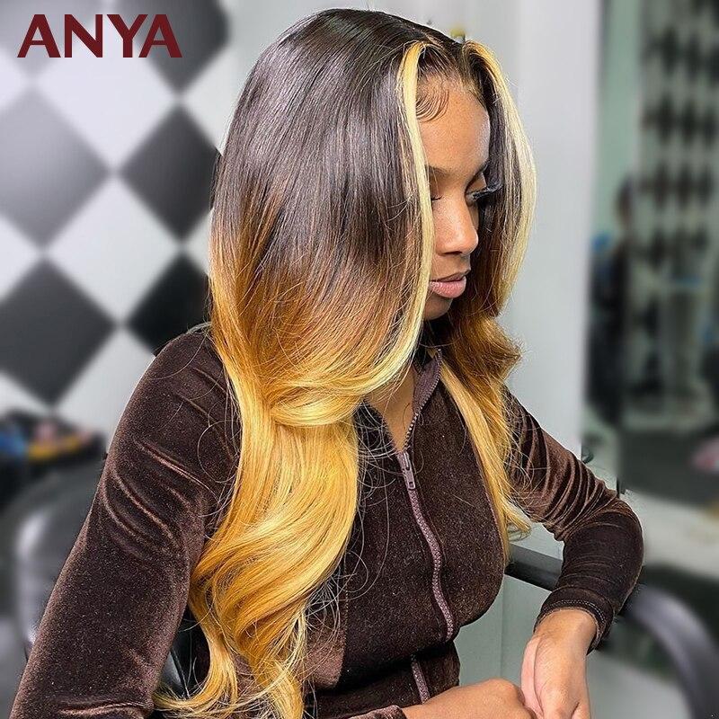 Anya 1b 4 27 ombre colorido peruca dianteira do laço pré arrancadas onda corpo perucas de cabelo humano laço transparente brasileiro remy cabelo para as mulheres