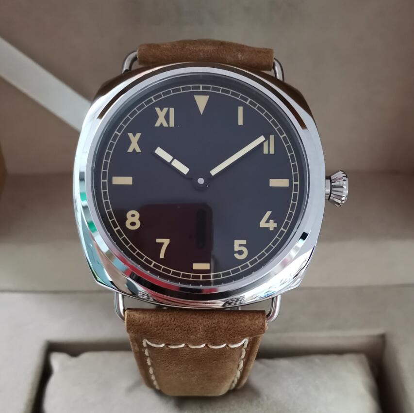 47mm Stainless Steel Manual Mechanical Men's Watch California Dial Super Luminous Seagull ST3600-1 Swan Neck Movement G115