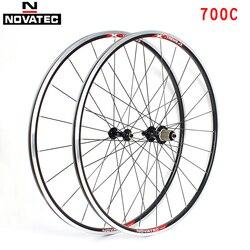 Novatec Road zestaw kół rowerowych łożyska 700C koła ze stopu aluminium 7-11 prędkości V hamulec Clincher przód tył 20 24H zestawy kół rowerowych