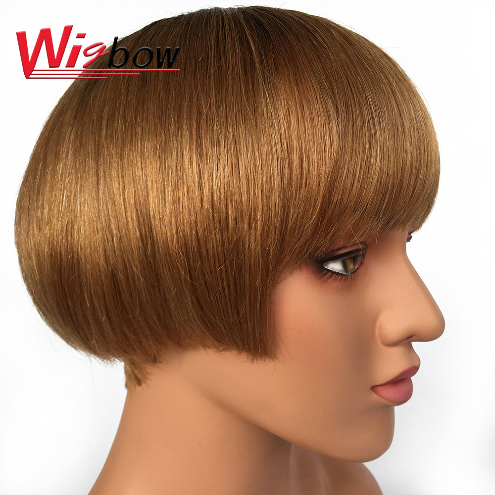 Cheap Short Pixie Cut Wig Non-Remy Peruvian Human Hair Wigs With 1/4 Inch Elastic Brazilian  T1b/30/Grey Ombre Wig For Women