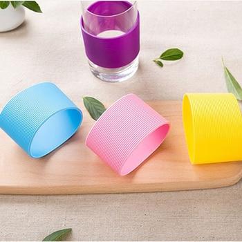 Kolorowe silikonowe termiczne kubek izolowany rękaw paski antypoślizgowe okłady na kubki ceramiczne szklane rękaw na kubek butelka wody czajnik pokrywa